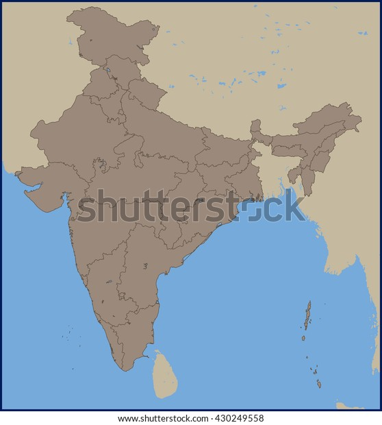 Empty Political Map India Stock Vector (Royalty Free) 430249558