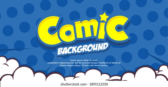 Empty Pop art comic background with cloud and star. Cartoon Vector Illustration on blue