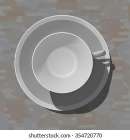 Empty porcelain cup and saucer. View from above. Seamless background wood or marble. Vector.