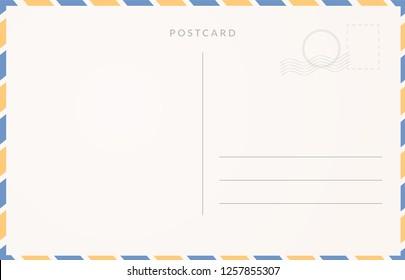 Empty postcard template. Moder travel card design.