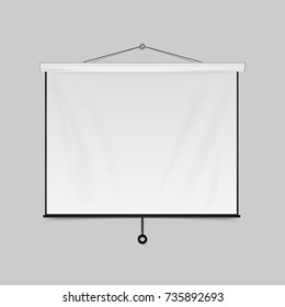 Empty Projection screen. Blank Presentation board. Blank whiteboard for conference isolated on background. Vector illustration. Eps 10.