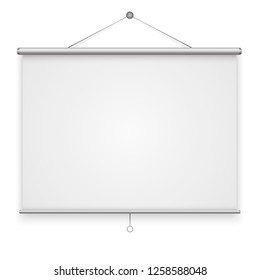 Empty Projection screen isolated on background. Vector illustration.