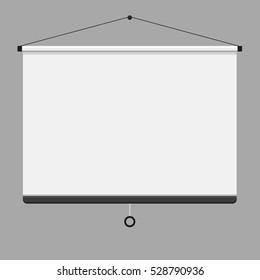 Empty Projection screen, Presentation board, blank whiteboard for conference. Flat vector stock illustration