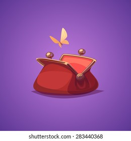 Empty purse. Isolated object \ background.