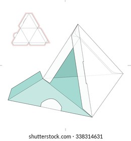 Empty Pyramidal Box with Die Cut Template