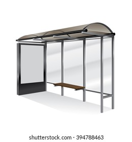 Empty realistic bus stop with blank billboard isolated.
