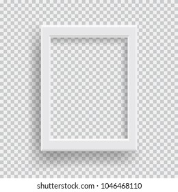 Empty realistic photo frame with transparent shadow on plaid black white background. Photo border to family album. Make with gradient mesh tool. Vector illustration for your design and business.