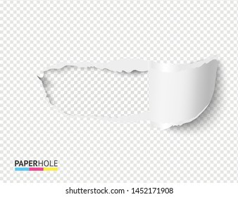 Empty realistic torn paper scroll and hole on transparent background for sale poster. Vector blank rip edge banner concept with tear off paper curled piece isolated for scrapbooking or ad