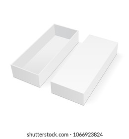 Empty rectangular box mock up with lid isolated on white background. Vector illustration