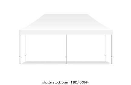 Empty rectangular outdoor canopy tent mockup - front view. Vector illustration