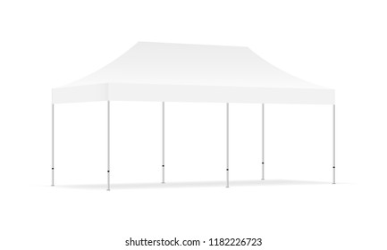 Empty rectangular outdoor canopy tent mock up - half side view. Vector illustration
