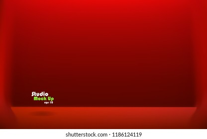 Empty red color studio table room background