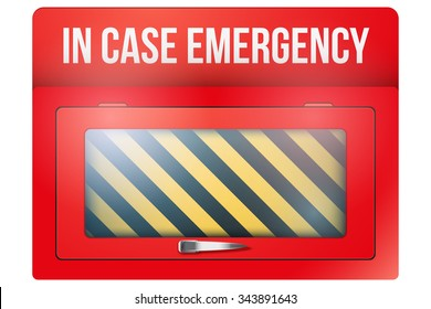 Empty red emergency box with in case of emergency breakable glass. Vector illustration Isolated on white background.