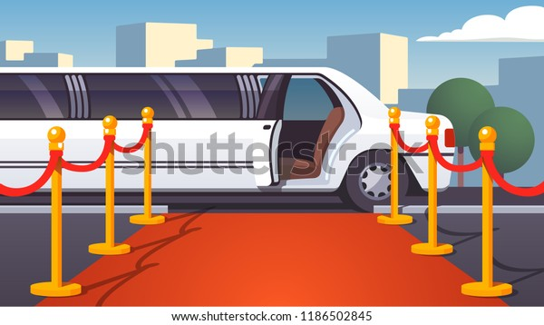 Empty red event carpet with rope barrier. Luxury ride limousine with opened door on cityscape background. Celebrity arrival, vip party and famous guest welcome template. Flat vector illustration