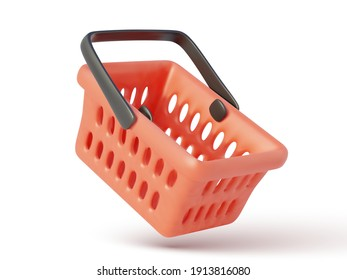 Empty red shopping cart isolated on white background. Vector illustration