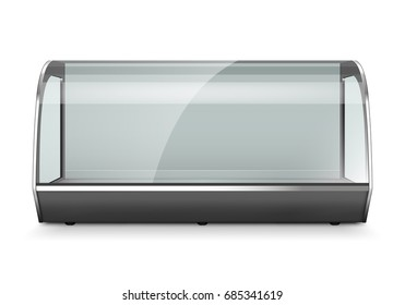 Empty refrigerator display showcase. Isolated on white background