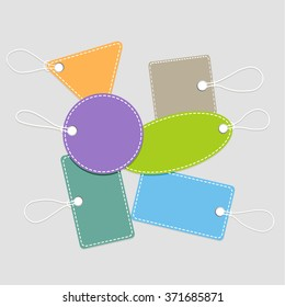 Empty Retro Colorful Labels with Strings Isolated on light Background. vector illustration
