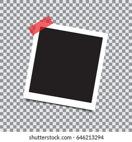 Empty retro photo frame with sticky tape on a transparent background