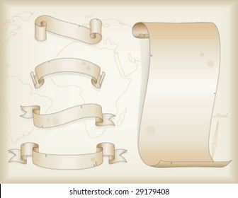 empty retro style banners ribbons scroll vector