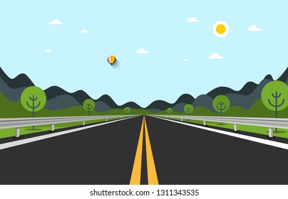 Empty Road Vector Illustration with Hills on Background