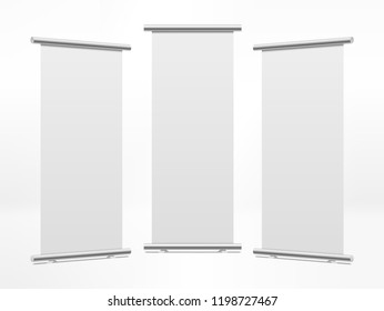 Empty roll up banners with paper canvas texture. Graphic concept for your design
