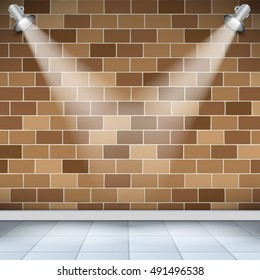 Empty room with brick wall and tile floor, light from the lamp, vector illustration