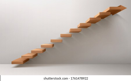 Empty room with brown staircase and arrow sign instead of top step. Vector realistic mockup of stairs, concept of career growth, direction to success, leader way. Abstract ladder side view