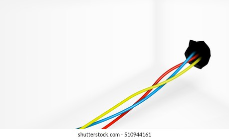 Empty Room With Colored Electric Wires From Wall. EPS10 Vector