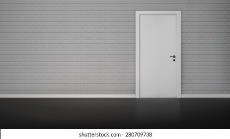 Empty room interior with brick wall and closed white door realistic vector illustration