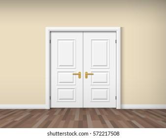白い二重ドアを持つ空の部屋の内部