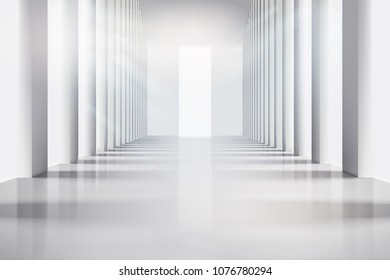 Empty room with large windows. Vector illustration.
