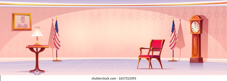 Empty room for president or government statesman with lamp stand on wooden table, grandfather clock, United States flags, armchair, photo hanging on wall and tiled floor. Cartoon vector illustration