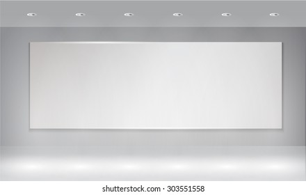 empty room, projector present on gray wall background with light spot, vector