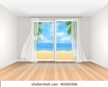 Empty room with sliding window and sea view. Realistic vector interior. Room at the hotel on the coast. Template for travel illustration.