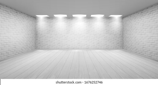 Empty room with white brick walls, wooden floor and ceiling lamps. Vector realistic 3d interior of studio, modern museum or gallery hall. Template showroom for exhibition in loft style