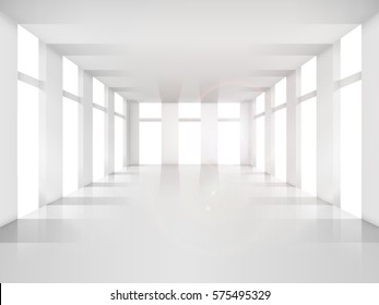 Empty room, white shade. Design element. Vector illustration of mockup. Bright apartment realistic style.