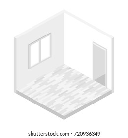 Empty room with window and door in isometric. vector illustration isolated from background.