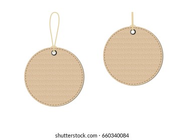 Empty round cardboard tags on white background. Vector