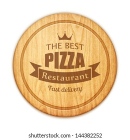 empty round cutting board with pizza restaurant label eps10 vector illustration
