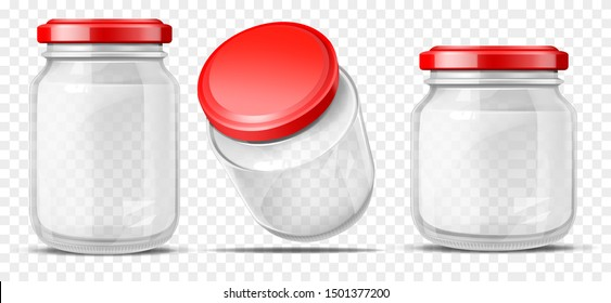 Empty, round, different volume glass jars sealed red screw cap for sauces, vegetable preservation side, top perspective view 3d realistic vector illustrations set isolated on transparent background