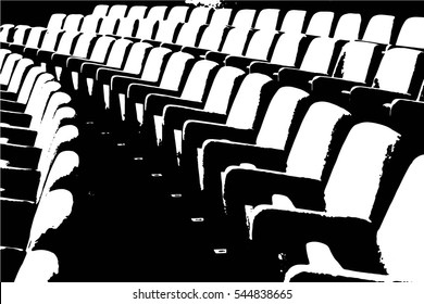 Empty rows of theater or movie seats. Vector illustration.