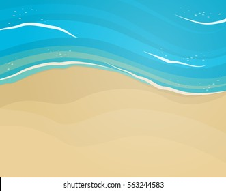 Empty sand beach and blue wave from top.Vector flat background.