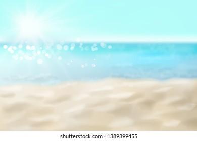 Empty sandy beach. Waves on the seashore. Summer day. Vector illustration.