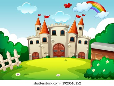 Empty scene with castle in nature illustration