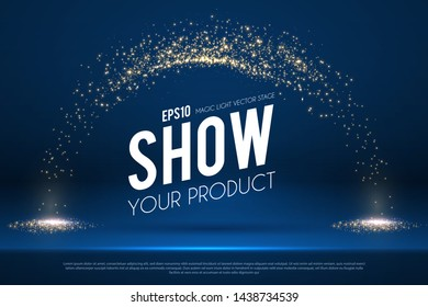 Empty scene with magic spotlights. Ad and promotion design template.