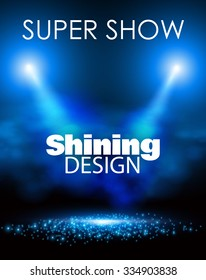 Empty Scene Poster Template with Shining Spotlights. Party, Concert, Match, Show, Sale & Win Background. Vector illustration