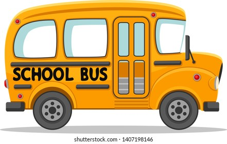 Empty school bus on a white background. Car