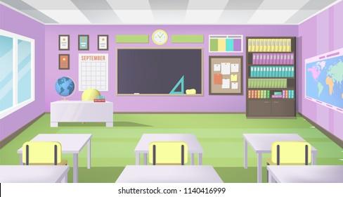 Empty School Class Room with Board Desk, Shelf, Books, Clock and Purple Walls. Modern Vector Illustration of School Interior.