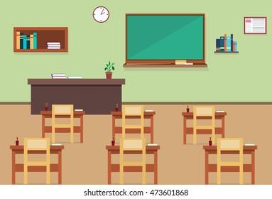 Empty School Class Room Interior Flat Vector Illustration