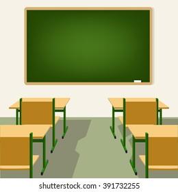 empty school classroom with blackboard and desks